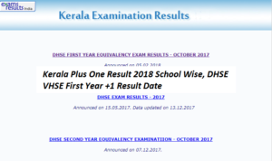Kerala Plus One Result 2019 School Wise, DHSE VHSE First Year +1