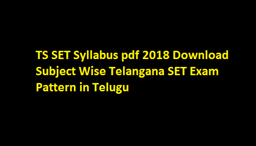 TS SET Syllabus pdf 2018 Download Subject Wise Telangana SET Exam Pattern in Telugu