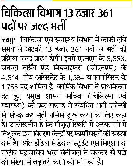 Rajasthan NRHM ANM Vacancy 2020 GNM Nursing Staff Recruitment, Notification