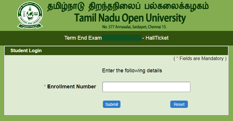 TNOU Term End Exam Hall Ticket June 2020 www.tnou.ac.in Part 1st, 2nd, 3rd Admit Card