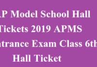 AP Model School Hall Tickets 2019 APMS Entrance Exam Class 6th Hall Ticket