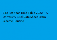 B.Ed 1st Year Time Table 2020 – All University B.Ed Date Sheet/ Exam Scheme/ Routine
