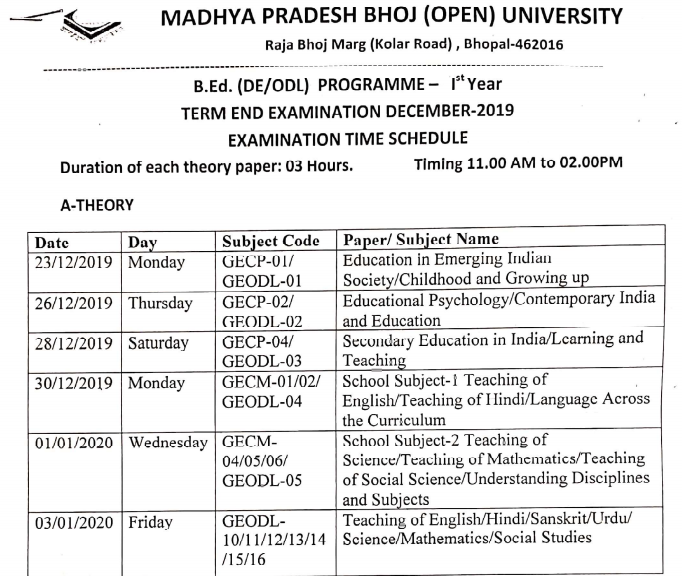 MP Bhoj B.Ed 1st & 2nd Year Result 2020 MPBOU Term End Exam Result