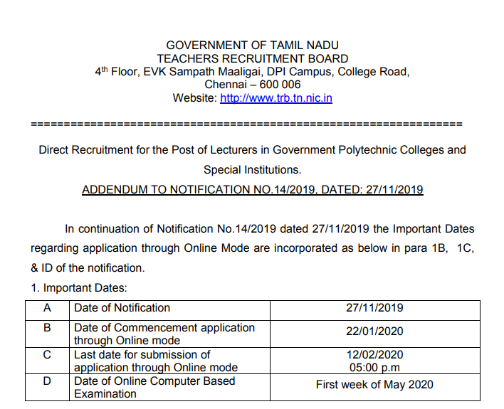 TRB Polytechnic Lecturer 1060 Recruitment 2020 Notification Apply Online