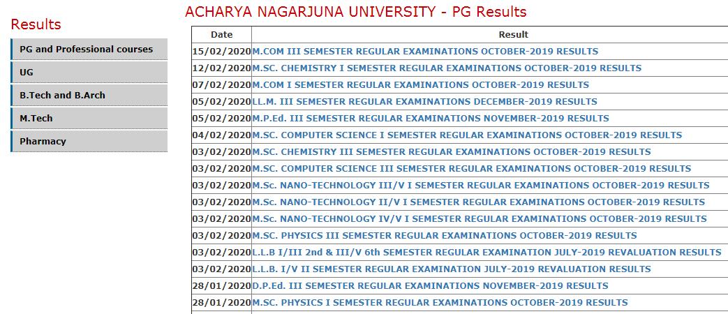 ANU B.Ed 1st & 3rd Sem Results 2020 Acharya Nagarjuna University BEd Result