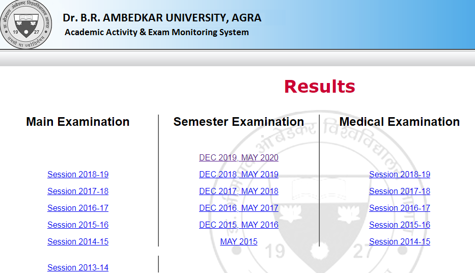 Agra University B.Ed 1st & 2nd Year Result 2020 DBRAU B.Ed Result