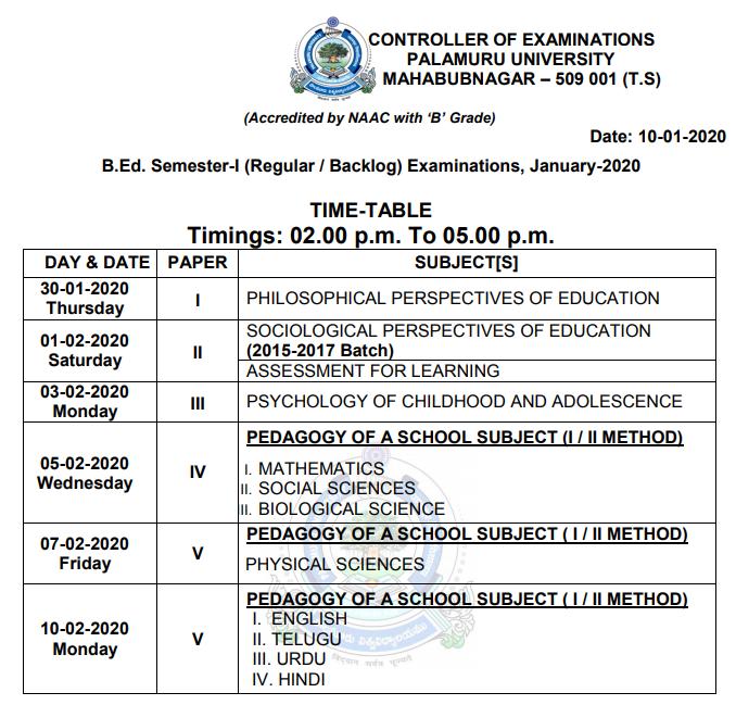Palamuru University B.Ed 1st sem results 2020 చూడండి PU B.Ed Result