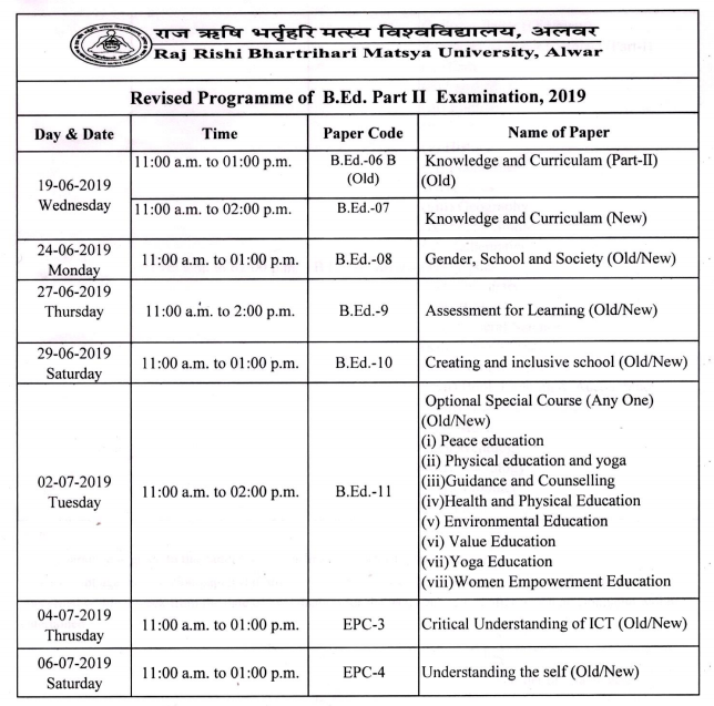 RRBMU Matsya University B.Ed Time Table 2020 {1st & 2nd Year} Exam date