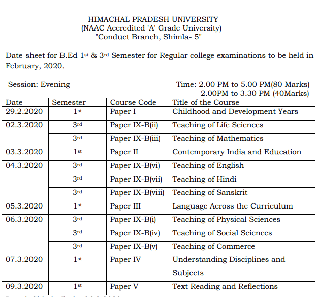 HPU B.Ed Date Sheet 2020 BEd 2nd & 4th Sem Time table Pdf Download