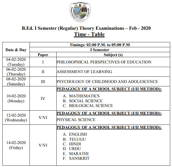 Telangana University B.Ed Exam Time Table 2020 TS B.Ed 2nd & 4th Sem Exam Date